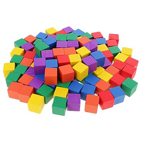 MagiDeal 100 Stück Bunte Holzpuzzle Holz Blöcke/Würfel für Kinder ab 3 Jahre, Kreatives Diy Spielzeug