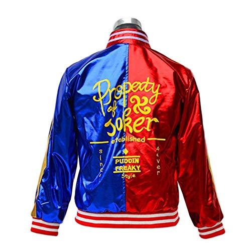 I pass halloween cosplay costume harley quinn ragazze supereroe t-shirt giacca costume (l, a)