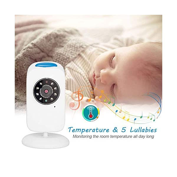LifetSmart Baby Monitor,Digital Video Baby Monitor 700FT Operating Range with Infrared Night Vision,Two Way Talk,Ambient Light,Temperature Sensor and 5 Classic Lullabies LifetSmart UPGRADED 2018 VERSION :This baby monitor featured with 2.4ghz Fhss wireless technology which won't interfer wifi.With camera allows you to monitor the baby's activities in real time without missing any precious moment. You can also use the baby monitor to check elders. TWO-WAY TALK:Built-in high sensitivity microphone and speaker,the digital video baby monitor allows you to talk with your baby with the sound of your own voice to comform him/her when they are crying. NIGHT VISION & AMIENT LIGHT :Equipped with automatic night vision function,it will automatically detect light conditions and provide clear images to see your baby during the night. There is also a warm nightlight on the top of the camera which can create a comfortable atomasphere for baby. 6