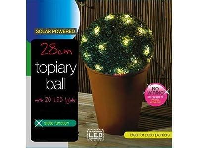 Buchsbaumkugel, künstlich, 28 cm, mit 20 solarbetriebenen LED Lichtern von Solalite - Gartenmöbel von Du und Dein Garten