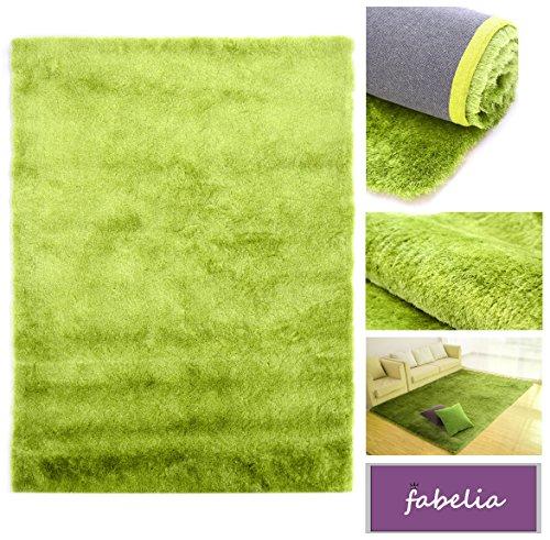 Fabelia Hochflor Teppich Gentle Luxus Grün-Apfel-Smoothie/Seidig und Flokati-Weich (80x150 cm) - Grüner Läufer Teppich