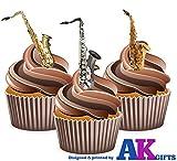 All That Jazz. Saxophone Mix–essbar Stand-up Cupcake Topper (Pack von 12)