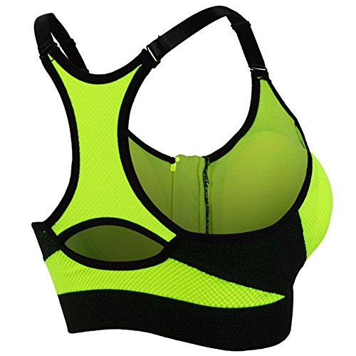 Soutien-Gorge De Sport Femme Brassiere Running Yoga Bra Avant Zipper Vert