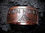 Coinring, Münzring, Ring aus Cannabis Münze, 999er Kupfer - Double Sided coin ring - Größe 68 (21.6), Daumenring, handgeschmiedetes Unikat für Cannabis Fans