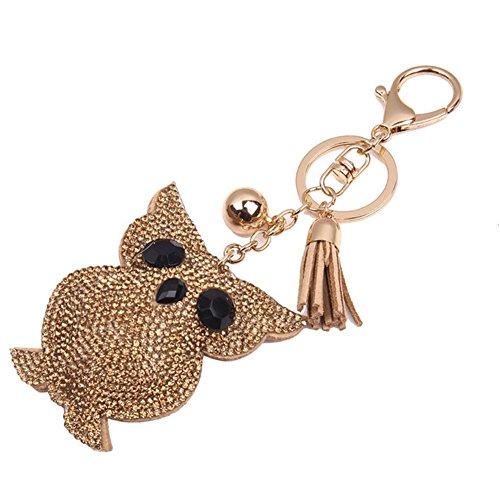 Kanggest 1 Piezas Llaveros de Coche búho Forma Pequeños Cadena de Clave Key Holder Para Decoración del Coche/Puerta/Teléfono/accesorio de bolso(Dorado)