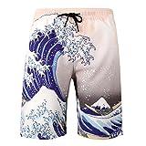 Dreamskull Herren Männer Strandhose Badeshorts Badehose Beachshorts Hawaii Hose Shorts Strand Surfen 3D Kurz Leicht Freizeit Urlaub Casual Bunt Blumen Große Größen S-3XL (L, Welle)
