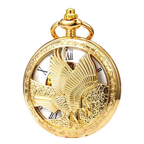 MORFONG Herren Damen Taschenuhr mit Kette Gold Antik Mechanische Handaufzug Skelett Adler