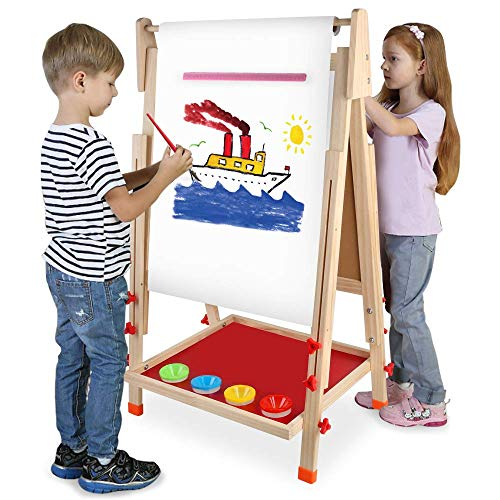 Arkmiido wooden art easel for kids,kids easel,Height Adjustable Wooden Easel,Whiteboard Chalkboard,4 in 1, for 3 4 5 6 7 8 9 10 year old Boy Girls …