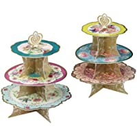 Talking Tables Truly Scrumptious Floral 3 Tier Cake Stand for Tea Party, Weddings and Birthday Party, Multicolour