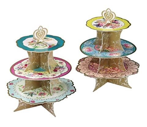 Talking Tables Truly Scrumptious Floral Cakestand (3 Tier) for a Tea Party, Wedding or Birthday, (2 Torta Way)