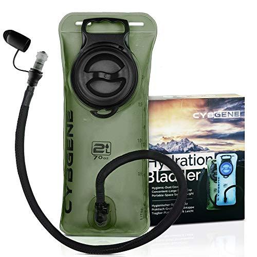CybGene Trinkblase 2L, Wasserblase, Trinkbeutel für Rucksack mit großer Öffnung Auslaufsicherer Deckel und Isolier schlauchabdeckung. Geschmacksfrei zum Wandern, Radfahren und Klettern (Grün)