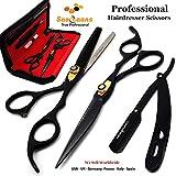 Saaqaans MSS-01 Professionelle Friseurschere Eingestellt - 7 Zoll Friseur Schere - Vervollkommnen Sie für Stilvolles Haar-Ausschnitt, Trimmen Sie Ihren Bart und Schnurrbart (Schwarz)