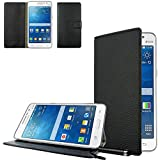 Ownstyle4you - Etui Wallet Coque Housse PREMIUM Portefeuille Eco Cuir Side Samsung Galaxy Grand Prime G530F Touchpen Noir