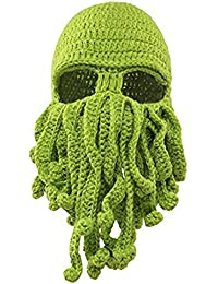 cae6ea47ab9 Fire source Octopus Cthulhu Knit Hat Beard Beanie Windproof Ski Cap  Halloween Party Mask