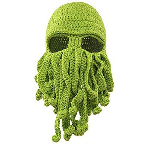 Octopus Cthulhu Strickmütze Bart Beanie winddicht Ski Mütze Halloween Party Maske (Halloween-mütze)