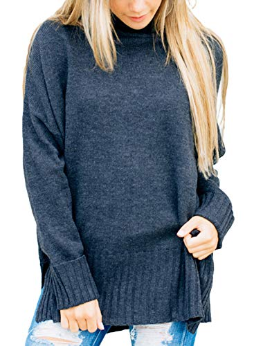 Happy Sailed Womens Long Sleeve Turtle Neck Sweater Pullover Jumper Tops