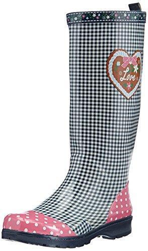 Playshoes Damen Gummistiefel, trendiger Regenstiefel aus Naturkautschuk, mit herausnehmbarer Innensohle, mit Landhaus-Motiv ,Blau (marine 11) ,40