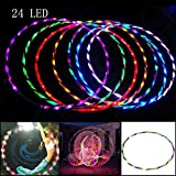 SEGRJ 24-LED Colorful Light 90CM Flashing Hula Fitness Hoop Sports Lose Weight Tool