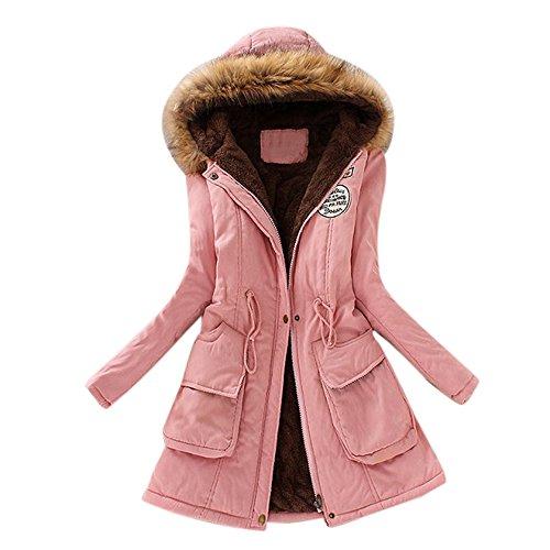 JURTEE Damen Winterjacke,Wintermantel Lange Daunenjacke Jacke Outwear Winter Warm Trenchcoat mit Abnehmbarer Pelzkragen Parka Outwear Mäntel