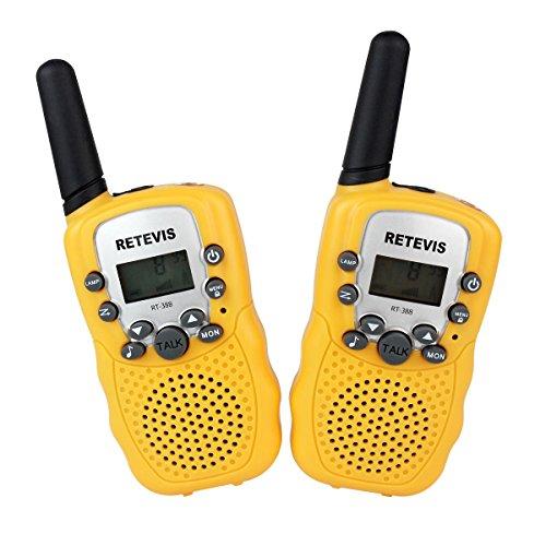 Retevis RT-388 Walkie Talkie für Kinder UHF VOX 8CH mit LC-Display (1 Paar,Gelb)