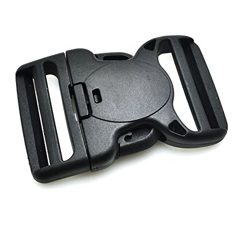 5pcs double adjustable plastic and double with safety clasp buckle for belts, black, black, 2 '(50mm)