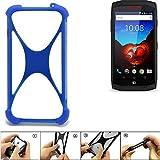 K-S-Trade Handyhülle kompatibel mit Crosscall Trekker X3 Silikon Schutz Hülle Cover Case Bumper Silikoncase TPU Softcase Schutzhülle Smartphone Stoßschutz, blau (1x)
