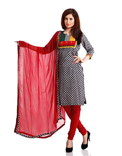 Pinkshink Womens Cotton Unstitched Salwar Suit Dress Material (Psd05 _Black And Red _Free Size)