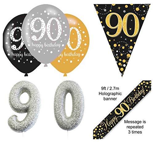 EPF 90. Geburtstag Party Dekorationsset schwarz und gold Banner, 6 Stück schwarz und gold 90. Latexballon, 90. Geburtstag schwarz und gold Wimpelkette, Silber Kuchen Kerze 90.