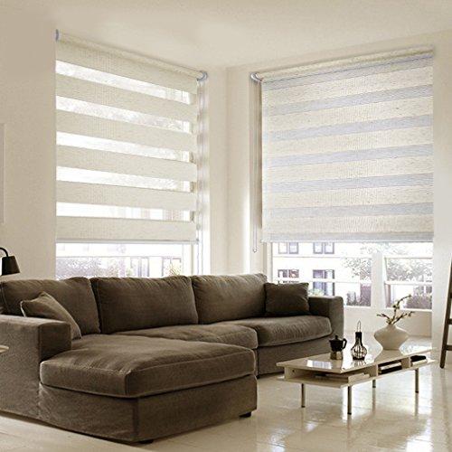 SHINY HOME® Duo Rollo Doppelrollo Klemmfix Fensterflügel mit Klemmträger tageslicht Lichtundurchlässig Raffrollo ohne Bohren Sonnenschutzrollo Fensterrollo für Fenster oder Tür 90x150cm Flachs