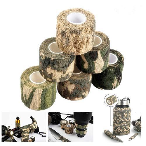 Dproptel Outdoor Camouflage Klebebandselbstklebende Tarnung Band Camouflage-Bänder im Freien Kamera Schützen für Jäger, Angler, Fotografen5cm*4.5m 6 Stücken -
