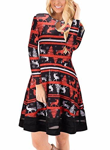 Ruiyige Damen Weihnachten Midi Kleid Net Garn Flared Swing Kleid schwarz XL