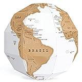 Exerz EX-SCGL20 Zerkratzbarer Globus (Durchmesser: 20 cm) 3D Puzzle - Kombination aus DIY und Geographie für Reisende, Studenten (Englische Karte)