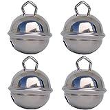 Glöckchen Silber (Silberfarben) - 4 X Glöckchen schellen 24mm – schön laut sound - Mehr als 16 farben in 3 Größen Glöckchen zum basteln, kreatives Gestalten baby, kinder, senioren
