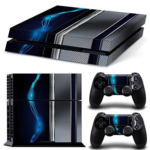 ZoomHit PS4 Playstation 4 Konsole Skin Sticker Blau Silber Metall + 2 Controller Skins Set - Destiny 4 Konsole Playstation