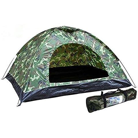 Tienda de Campaña Militar Camuflaje Pesca Caza Camping 2x1.5m 2 personas 4123