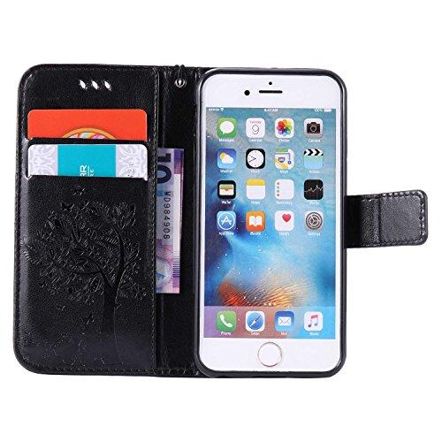 Guran® PU Leder Tasche Etui für iPhone 6 6S (4.7 zoll) Smartphone Flip Cover Stand Hülle und Karte Slot Case-grau schwarz