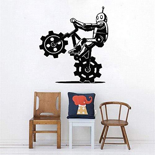 dtattoo Wohnzimmer Karikatur-Roboter auf Fahrradtricks Cyborg-moderne Mode-Verzierungs-Abziehbild-Dekor ()