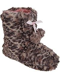 Botas / Zapatillas de estar por casa diseño de leopardo con detalles de lazo y pom-poms para niñas