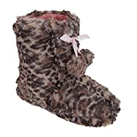 Girls Leopard Print Boot Slippers With Bow And Pom-Poms (UK Shoe 11-12, EUR 30-31) (Brown Leopard)