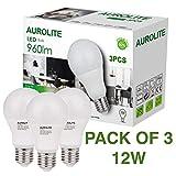 Aurolite 3 x LED-Birnen, A60, E27/ES Sockel, 12 W, 960 Lumen, Tageslicht (6500 K), ideal für Wohnzimmer, Schlafzimmer, Küche, Flur, Hotel