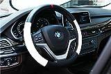 Valleycomfy Atmungsaktiv Leder Auto Lenkradabdeckung Universal 15 Zoll, Sport Style, für alle Jahreszeiten, Anti Slip & Schweißabsorption (Schwarz)