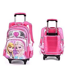 Princesa sofía Niña Colegio Mochila Trolley Continua Equipaje con Tiras Reflectantes para Colegio y Bolsa de Viaje Laminación Ajustable Carretilla