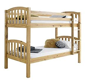 Happy beds american solid honey pine wooden bunk bed frame for Bedroom furniture amazon