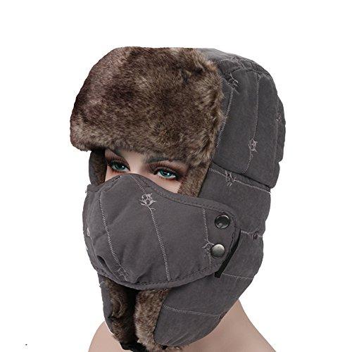 surblue Unisex invierno Trapper Trooper bombardero sombrero orejeras ruso  ushanka gorro de caza 33f67fd73480