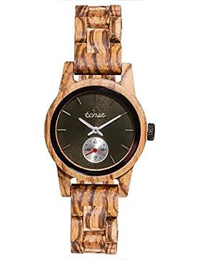 TENSE // Die Holzuhr - Womens Hampton made in Canada Zebranoholz - schwarzes Ziffernblatt - Damen-Uhr - Holz-Uhr...
