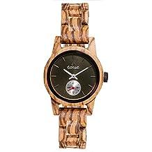 Premium en bois horloge Tense Womens Hampton (fabriqué en Canada)–Zingana–Cadran Noir–Montre Femme m4700z de B