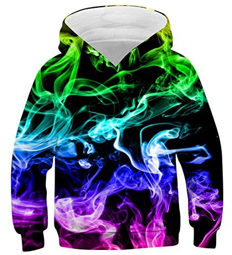 uideazone Jungen Mädchen Kapuzenpullover 3D Druck Teenager Hoodies Kinder Langarm Pullover Sweatshirts Kapuzenjacke mit Taschen 6-16 Years, Bunter Rauch, 8-11 Jahre