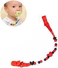 Vosarea Baby Dummy Pacifier Clip Chain Beads Toy Teether Holder (Red)