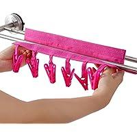 Plegable tejidos perchas con pinzas de goteo de secado accesorio de ropa con 6 clips para