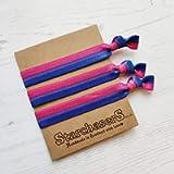 Bisexual Pride Stripe Elastic Wrist Bands or Hair Ties, Pack of 3 Ideal Friendship Gifts